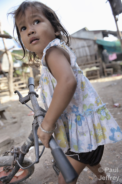 A girl in the Chamroen neighborhood of Phnom Penh, Cambodia.