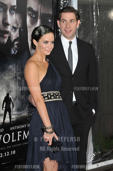 "Emily Blunt & fiancé John Krasinski at the US premiere of her new movie ""Wolfman"" at the Arclight Theatre, Hollywood..February 9, 2010  Los Angeles, CA.Picture: Paul Smith / Featureflash"