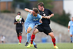 15 August 2014: North Carolina's Andy Craven (10) is fouled by Gardner-Webb's Riley Shelton (right). The University of North Carolina Tar Heels hosted the Gardner-Webb University Bulldogs at Fetzer Field in Chapel Hill, NC in a 2014 NCAA Division I Men's Soccer preseason match. North Carolina won the exhibition 7-0.