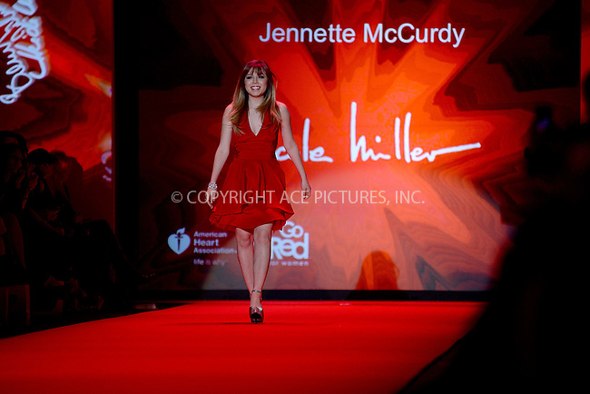 WWW.ACEPIXS.COM<br /> February 12, 2015 New York City<br /> <br /> Jennette McCurdy walks the runway at the Go Red For Women Red Dress Collection 2015 presented by Macy's fashion show during Mercedes-Benz Fashion Week Fall 2015 at The Theatre at Lincoln Center on February 12, 2015 in New York City.<br /> <br /> Please byline: Kristin Callahan/AcePictures<br /> <br /> ACEPIXS.COM<br /> <br /> Tel: (646) 769 0430<br /> e-mail: info@acepixs.com<br /> web: http://www.acepixs.com