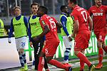 10.04.2019, Schauinsland-Reisen-Arena, Duisburg, GER, 2. FBL, MSV Duisburg vs. 1. FC Koeln,<br />  <br /> DFL regulations prohibit any use of photographs as image sequences and/or quasi-video<br /> <br /> im Bild / picture shows: <br /> Torjubel / Jubel / Jubellauf,    Jhon C&oacute;rdoba (FC Koeln #15),   Simon Terodde (FC Koeln #9), Christian Clemens (FC Koeln #17),     Louis Schaub (FC Koeln #13),   <br /> <br /> Foto &copy; nordphoto / Meuter