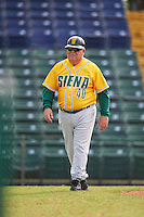 Siena Saints head coach Tony Rossi (40) during a game against the Pittsburgh Panthers on February 24, 2017 at Historic Dodgertown in Vero Beach, Florida.  Pittsburgh defeated Siena 8-2.  (Mike Janes/Four Seam Images)