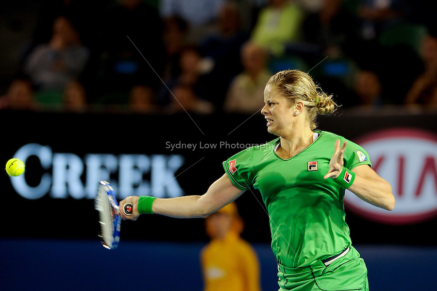 MELBOURNE, 24 JANUARY - Kim Clijsters (BEL) in action during her fourth round match against Ekaterina Makarova (RUS) on day eight of the 2011 Australian Open at Melbourne Park, Australia. (Photo Sydney Low / syd-low.com)
