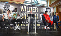 LOS ANGELES - SEPTEMBER 28: (L-R) Leo Santa Cruz, Deontay Wilder, Luis Ortiz, and Miguel Flores during a Los Angeles press conference for the November 23, 2019 Fox Sports PBC Pay-Per-View fight night at the MGM Grand in Las Vegas. (Photo by Frank Micelotta/Fox Sports/PictureGroup)
