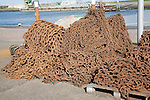 Rusty steel anchor chains, Oudeschild Harbour, Texel, Netherlands