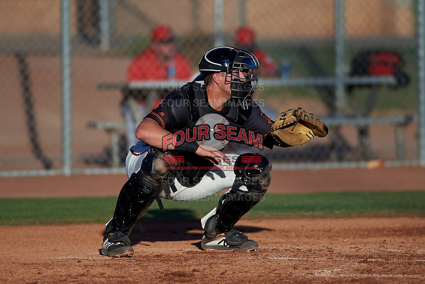 AZL Giants Black catcher Matt Malkin (5) during an Arizona League game against the AZL Angels at the Giants Baseball Complex on June 21, 2019 in Scottsdale, Arizona. AZL Angels defeated AZL Giants Black 6-3. (Zachary Lucy/Four Seam Images)