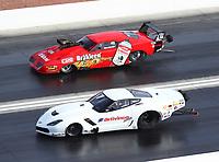 Oct 29, 2016; Las Vegas, NV, USA; NHRA pro mod driver Sidnei Frigo (near) races alongside Pete Farber during qualifying for the Toyota Nationals at The Strip at Las Vegas Motor Speedway. Mandatory Credit: Mark J. Rebilas-USA TODAY Sports