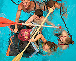 Indianola Park and Recreations hosted cardboard boat races at the Veteran's Memorial Aquatic Center July 22. Alexa Nauholz and Campbell McGuire rowed the boat When Pigs Fly all the way it it's water logged demise.