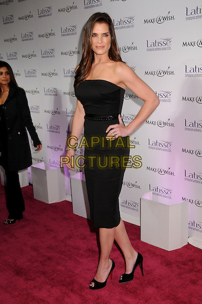 BROOKE SHIELDS.Launch Party for LATISSE held at a private gallery, Los Angeles, California, USA..March 26th, 2009.full length black dress strapless hand on hip.CAP/ADM/BP.©Byron Purvis/AdMedia/Capital Pictures.