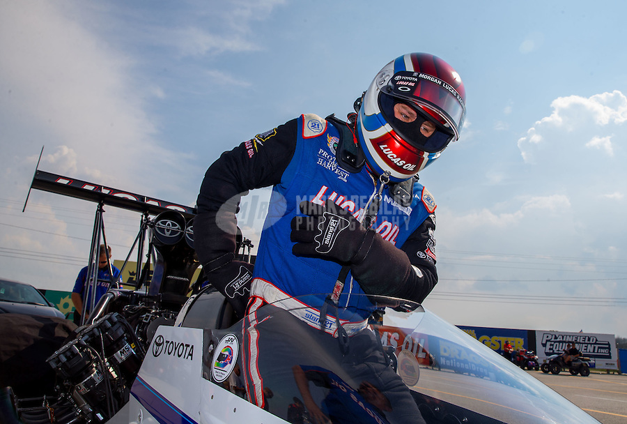 Sep 5, 2015; Clermont, IN, USA; NHRA top fuel driver Richie Crampton during qualifying for the US Nationals at Lucas Oil Raceway. Mandatory Credit: Mark J. Rebilas-USA TODAY Sports