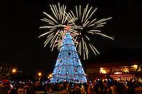 """ATENÇÃO EDITOR FOTO EMBARGADA PARA VEÍCULOS INTERNACIONAIS - SAO PAULO, SP, 09 DE DEZEMBRO DE 2012 - INAUGURAÇÃO DA ÁRVORE DE NATAL DO IBIRAPUERA: Inaugurada na noite deste domingo (09) a árvore de natal do Parque do Ibirapuera, na zona sul de São Paulo. A árvore tem quase 60 metros de altura, é iluminada com 500 lâmpadas do tipo stroble e 264 mil microlâmpadas de LED. Houve também a apresentação do espetáculo """"Natal Musical"""", realizado em parceria com o Instituto Baccarelli, e da Sinfônica de Heliópolis, além de um show pirotécnico com fogos de artifício. A árvore ficará em exposição até o dia 06/01. FOTO: LEVI BIANCO - BRAZIL PHOTO PRESS"""