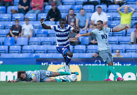 Blackburn Rovers' Bradley Dack (left) is tackled by and brought down by Reading's Lucas Joao (centre) as Blackburn Rovers captain Elliott Bennett (right) protests the tackle<br /> <br /> Photographer David Horton/CameraSport<br /> <br /> The EFL Sky Bet Championship - Reading v Blackburn Rovers - Saturday 21st September 2019 - Madejski Stadium - Reading<br /> <br /> World Copyright © 2019 CameraSport. All rights reserved. 43 Linden Ave. Countesthorpe. Leicester. England. LE8 5PG - Tel: +44 (0) 116 277 4147 - admin@camerasport.com - www.camerasport.com