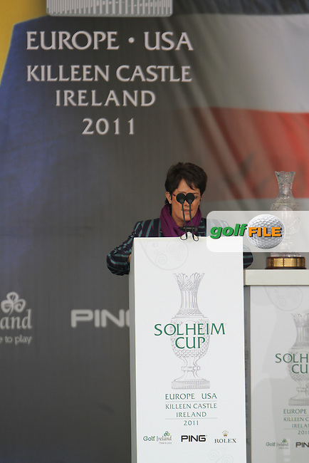 European Captain Alison Nicholas speaks at the Opening Ceremony for the 2011 Solheim Cup at Killeen Castle, Co. Meath, Ireland...Photo Golffile/Jenny Matthews.(Photo credit should read Jenny Matthews www.golffile.ie)....This Picture has been sent you under the conditions enclosed by:.Newsfile Ltd..The Studio,.Millmount Abbey,.Drogheda,.Co Meath..Ireland..Tel: +353(0)41-9871240.Fax: +353(0)41-9871260.GSM: +353(0)86-2500958.email: pictures@newsfile.ie.www.newsfile.ie.