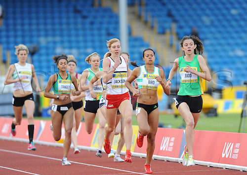 22.06.2012 Birmingham, ENGLAND : Womens 800m Heats, Jessica Judd leads the pack  during the Aviva Trials at the Alexandra Stadium...