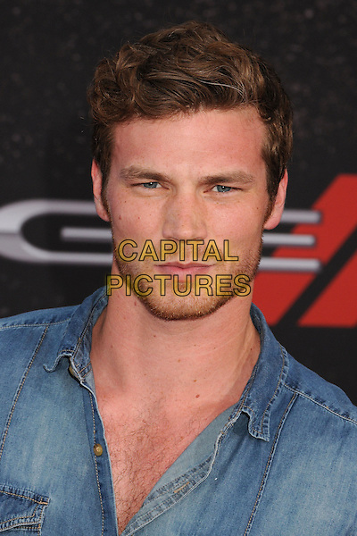"Derek Theler.""Fast & Furious 6"" Los Angeles Premiere held at the Universal Gibson Amphitheatre, Universal City, California, USA..May 21st, 2013.headshot portrait blue shirt jean denim stubble facial hair .CAP/ADM/BP.©Byron Purvis/AdMedia/Capital Pictures"