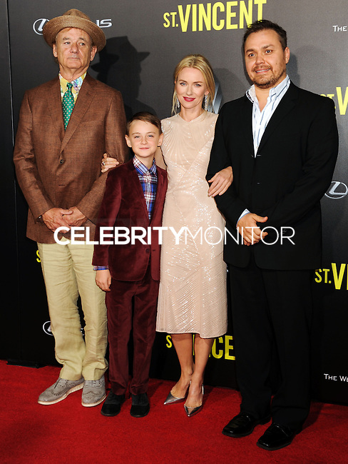 NEW YORK CITY, NY, USA - OCTOBER 06: Bill Murray, Jaeden Lieberher, Naomi Watts, Theodore Melfi arrive at the New York Premiere Of The Weinstein Company's 'St. Vincent' held at the Ziegfeld Theatre on October 6, 2014 in New York City, New York, United States. (Photo by Celebrity Monitor)