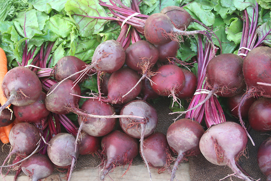 Beets in bunches at market