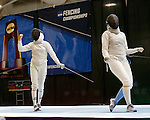 25 MAR 2016:  Ohio State's Eleanor Harvey celebrates a point in the women's saber event at the Division I Women's Fencing Championship  held at the Gosman Sports and Convention Center in Waltham, MA. Harvey defeated Jackie Dubrovich for the title.  Damian Strohmeyer/NCAA Photos