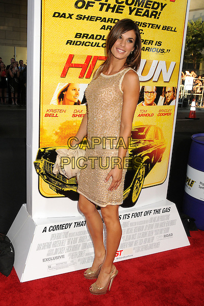 """Elisabetta Canalis.""""Hit and Run"""" Los Angeles Premiere held at Regal Cinemas L.A. Live, Los Angeles, California, USA..August 14th, 2012.full length dress side gold beige sleeveless sequins sequined.CAP/ADM/BP.©Byron Purvis/AdMedia/Capital Pictures."""