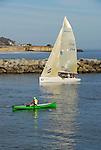 Rowing and sailing at Santa Cruz Harbor