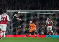 Nikola Kalinić of AC Milan heads wide during the UEFA Europa League round of 16 2nd leg match between Arsenal and AC Milan at the Emirates Stadium, London, England on 15 March 2018. Photo by Vince  Mignott / PRiME Media Images.