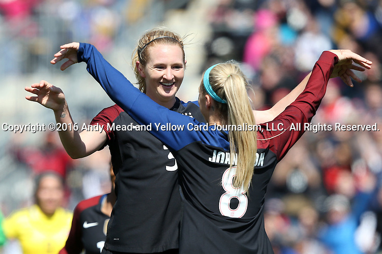 10 April 2016: Julie Johnston (USA) (8) celebrates her first goal with Samantha Mewis (USA) (3). The United States Women's National Team played the Colombia Women's National Team at Talen Energy Stadium in Chester, Pennsylvania in an women's international friendly soccer game. The U.S. won the match 3-0.
