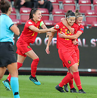 20191008 CLUJ NAPOCA: Belgium's Laura Deneve (18) is celebrating her goal with Belgium's Laura Deloose (22)  and Belgium's Tessa Wullaert (9)  is joining the celebration at the match between Belgium Women's National Team and Romania Women's National Team as part of EURO 2021 Qualifiers on 8th of October 2019 at CFR Stadium, Cluj Napoca, Romania. PHOTO SPORTPIX | SEVIL OKTEM