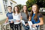 Students attending Gaelcholaiste Chiarraí pictured after opening their Junior Certificate results on Wednesday morning last were l-r: Cael Ó Duibhghiolla, Máiréad Ní Nualláin, Laoise Ní Chaochlaigh and Ria Breathnach.