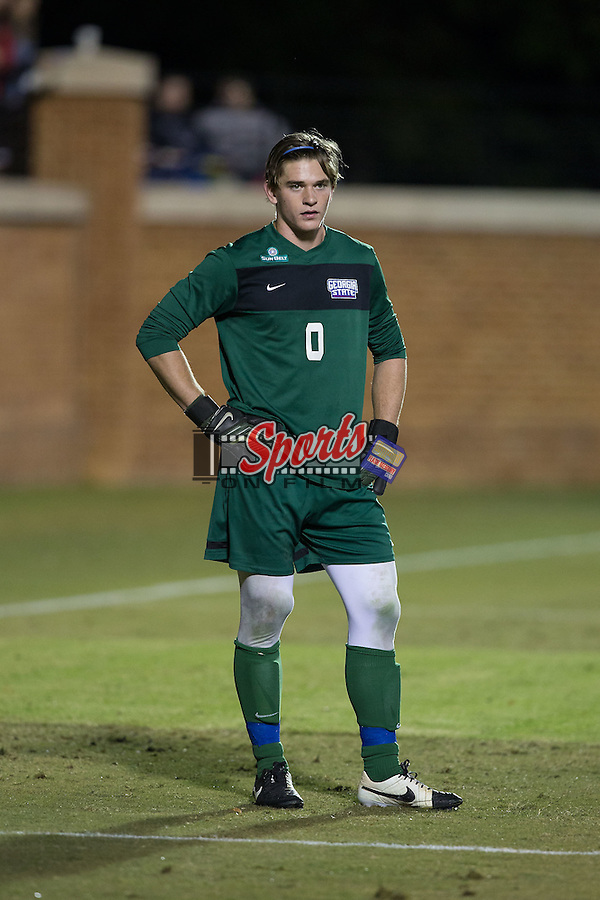 Greyson Walldorff (0) of the Georgia State Panthers during first half action against the Wake Forest Demon Deacons at Spry Soccer Stadium on October 20, 2015 in Winston-Salem, North Carolina.  The Demon Deacons defeated the Panthers 5-0.  (Brian Westerholt/Sports On Film)