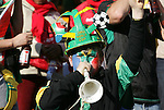 11 JUN 2010: South Africa fan with a vuvuzela. The South Africa National Team tied the Mexico National Team 1-1 at Soccer City Stadium in Johannesburg, South Africa in the opening match of the 2010 FIFA World Cup.