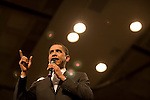 Senator Barack Obama, Democratic presidential candidate, gives a campaign speech at the the Omaha Civic Center, Omaha, Nebraska, February 7, 2008.