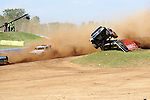 Mike Jenkins in his Ford/BFG Pro 4 coming off a guard rail just before his crash in the Pro 4x4 division of TORC at Crandon International Raceway, Crandon, WI on Sept. 6, 2009.