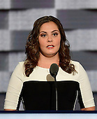 Erica Smegielski, who's mother Dawn was the principal of Sandy Hook Elementary School who was killed while trying to protect her students from a gunman, makes remarks during the third session of the 2016 Democratic National Convention at the Wells Fargo Center in Philadelphia, Pennsylvania on Wednesday, July 27, 2016.<br /> Credit: Ron Sachs / CNP<br /> (RESTRICTION: NO New York or New Jersey Newspapers or newspapers within a 75 mile radius of New York City)