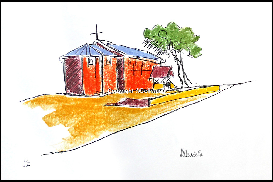 BNPS.co.uk (01202 558833)<br /> Pic: Bellmans/BNPS<br /> <br /> ***Please Use Full Byline***<br /> <br /> This sketch, entitled 'The Church' is one of Mandela's sketches from the series: The Robben Island.<br /> <br /> <br /> Art work produced by Nelson Mandela showing the views he spent 27 years looking at from his prison cell window have emerged for sale.<br /> <br /> The five 'primitive' images depict the lighthouse on Robben Island that he could see, along with a church and the harbour.<br /> <br /> He also drew his cell from outside looking in and his cell window complete with metal bars.<br /> <br /> The works are now being sold at auction in West Sussex.