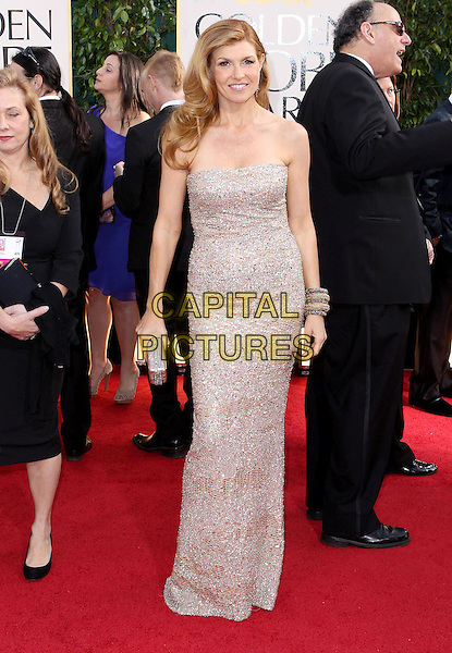 Connie Britton.70th Annual Golden Globe Awards held at the Beverly Hilton Hotel, Hollywood, California, USA..January 13th, 2013.globes full length dress silver strapless sparkly clutch bag .CAP/ADM/SLP/COL.©Collin/Starlitepics/AdMedia/Capital Pictures.