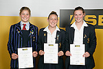 Girls Soccer finalists Rosie White, Annalie Long & Anna Green. ASB College Sport Young Sportperson of the Year Awards 2007 held at Eden Park on November 15th, 2007.