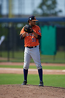 Houston Astros pitcher Leovanny Rodriguez (91) during a Minor League Spring Training Intrasquad game on March 28, 2019 at the FITTEAM Ballpark of the Palm Beaches in West Palm Beach, Florida.  (Mike Janes/Four Seam Images)