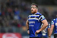 Henry Thomas of Bath Rugby looks on during a break in play. Gallagher Premiership match, between Bath Rugby and Sale Sharks on December 2, 2018 at the Recreation Ground in Bath, England. Photo by: Patrick Khachfe / Onside Images