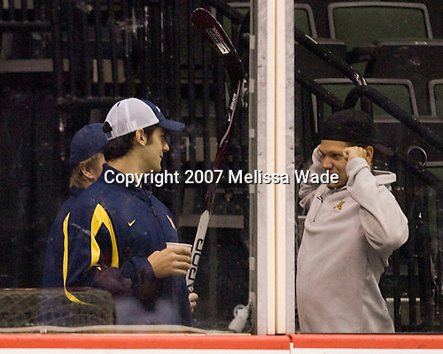 Max Pacioretty (Michigan 39) catches up with Kyle Okposo (Minnesota 9) at the Xcel Energy Center in St. Paul, Minnesota, on Friday, October 12, 2007, during the Ice Breaker Invitational.  Both took part in the Team USA evaluation camp for the Under 20 team in August 2007.  at the Xcel Energy Center in St. Paul, Minnesota, on Friday, October 12, 2007, during the Ice Breaker Invitational.