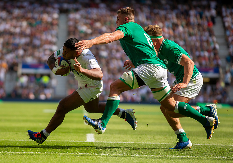 England's Manu Tuilagi in action during todays match<br /> <br /> Photographer Bob Bradford/CameraSport<br /> <br /> Quilter Internationals - England v Ireland - Saturday August 24th 2019 - Twickenham Stadium - London<br /> <br /> World Copyright © 2019 CameraSport. All rights reserved. 43 Linden Ave. Countesthorpe. Leicester. England. LE8 5PG - Tel: +44 (0) 116 277 4147 - admin@camerasport.com - www.camerasport.com