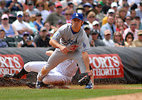 04 May 2008: Los Angeles Dodgers 3rd baseman Blake DeWitt records a force out of Colorado Rockies pitcher Aaron Cook during the teams' game on May 4, 2008 at Coors Field in Denver, Colorado. The Rockies defeated the Dodgers 7-2.