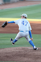 Trevor Bauer#47 of the UCLA Bruins pitches against the Arizona State University Sun Devils at Packard Stadium on May 28, 2011 in Tempe, Arizona. .Photo by:  Bill Mitchell/Four Seam Images.