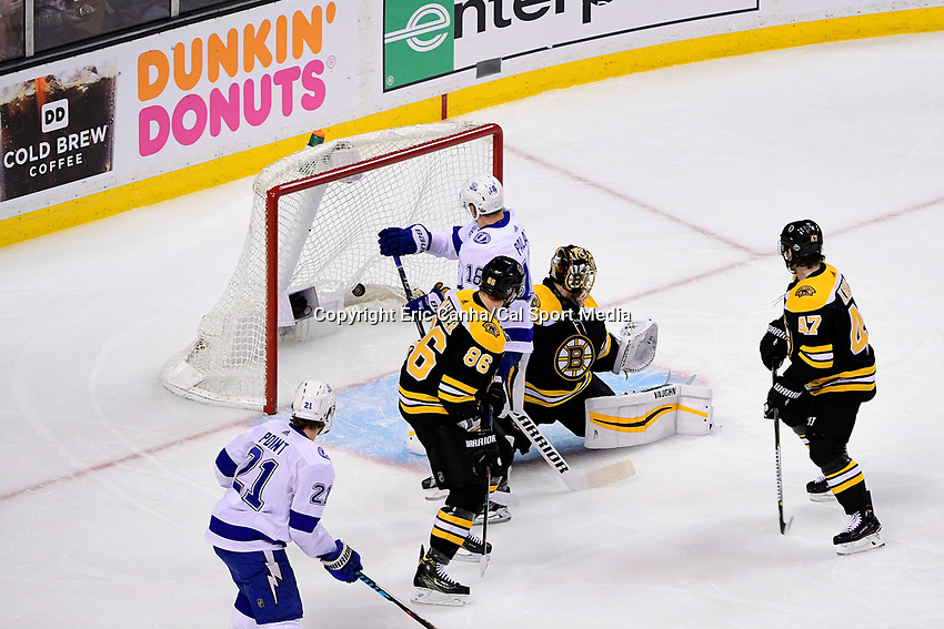 May 2, 2018: Tampa Bay Lightning left wing Ondrej Palat (18) scores his second goal against Boston Bruins goaltender Tuukka Rask (40) during game three of the second round of the National Hockey League's Eastern Conference Stanley Cup playoffs between the Tampa Bay Lightning and the Boston Bruins held at TD Garden, in Boston, Mass. Tampa Bay defeats Boston 4-1. Eric Canha/CSM
