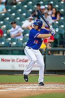 Round Rock Express first baseman Brett Nicholas (19) at bat during the Pacific Coast League baseball game against the Omaha Storm Chasers on June 1, 2014 at the Dell Diamond in Round Rock, Texas. The Express defeated the Storm Chasers 11-4. (Andrew Woolley/Four Seam Images)
