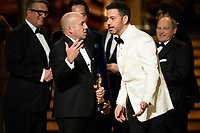 J. Miles Dale and Jimmy Kimmel on stage as &ldquo;The Shape of Water&rdquo; wins the Oscar&reg; for Best Motion Picture during the live ABC Telecast of The 90th Oscars&reg; at the Dolby&reg; Theatre in Hollywood, CA on Sunday, March 4, 2018.<br /> *Editorial Use Only*<br /> CAP/PLF/AMPAS<br /> Supplied by Capital Pictures