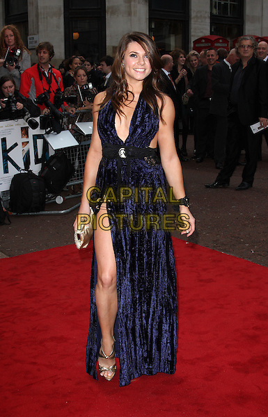 ALISON CARROLL .'The Kid' UK premiere held at the Odeon West End, Leicester Square, London, England..15th September 2010.full length blue crushed velvet dress black lace halterneck cameo brooch maxi slit split safety pins silver gold sandals low cut plunging neckline bracelet clutch bag .CAP/ROS.©Steve Ross/Capital Pictures