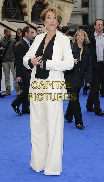Emma Thompson .The 'Men in Black 3' UK film premiere, Odeon Leicester Square cinema, Leicester Square, London, England..May 16th, 2012.MIB3 III full length white cream trousers jacket suit black blouse mouth open funny.CAP/CAN.©Can Nguyen/Capital Pictures.