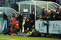 Pictured: Anthony Wright Manager of Swansea City u19's watches on during the FAW youth cup final between Swansea City and The New Saints at Park Avenue in Aberystwyth Town, Wales, UK.<br /> Wednesday 17 April 2019