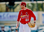 29 February 2020: St. Louis Cardinals pitcher John Brebbia takes some pre-game drills on the mound prior to a game against the Washington Nationals at Roger Dean Stadium in Jupiter, Florida. The Cardinals defeated the Nationals 6-3 in Grapefruit League play. Mandatory Credit: Ed Wolfstein Photo *** RAW (NEF) Image File Available ***