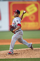 Louisville Bats pitcher Nefi Ogando (49) delivers a pitch to the plate against the Toledo Mud Hens during the International League baseball game on May 17, 2017 at Fifth Third Field in Toledo, Ohio. Toledo defeated Louisville 16-2. (Andrew Woolley/Four Seam Images)